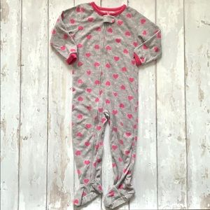 Girls 3T Footie Sleeper Pajamas Gray Pink Carters